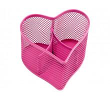 Настольная подставка BERLINGO Steel&Style металлическая в виде сердца 3 секции розовая