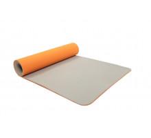 Коврик для йоги и фитнеса 183*61*0,6 TPE двухслойный оранжевый/серый