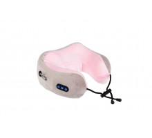 Дорожная подушка-подголовник для шеи с завязками, серо-розовая
