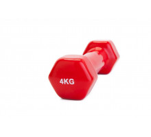 Гантель обрезиненная 4 кг, красная