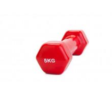 Гантель обрезиненная 5 кг, красная