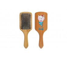 Деревянная массажная расческа для волос КОТ-РУСАЛКА