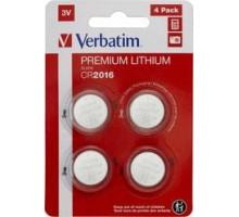 Батарейка CR2016 Verbatim литиевая блистер 4 шт. 49531